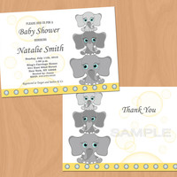 Gender Neutral Baby Shower Invitations Elephant Baby Shower Invitation Boy Girl Baby Shower Invites - FREE Thank You cards (l3)