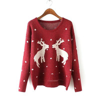 Women's Fashion Plus Size Christmas Pullover Long Sleeve Knit Tops Jacket [8431756685]