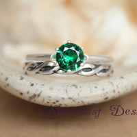 Emerald Green Spinel Solitaire Wedding Set with Sterling Notched Celtic Pattern Band, Vintage-Style Classic Solitaire Celtic Engagement Set