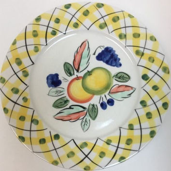 Royal Norfolk Fruit Center 4 Dinner Plate Band Lattice Yellow W Black Green Dots