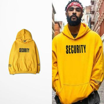Vfiles Security Print Hoodie Justin Bieber Fog High Street Sweatshirt Bibb Purpose Tour Yellow Hoodie Lovers Couple Bts Hoodie