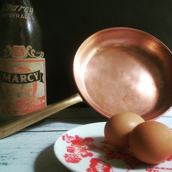 Vintage Copper Saute Pan with Brass Handle/ ODT Made in Portugal Copper Pan/ Vintage Copper Pot/ Antique Copper Saute Pan