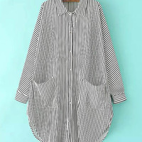 White Plus Size Stripe Shirt with Classic Collar