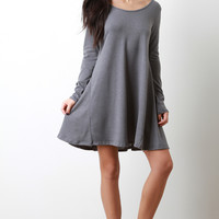 Long Sleeve Soft Knit Shift Dress