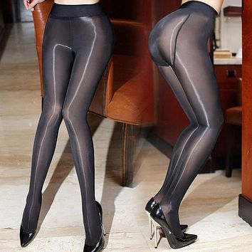2017 New 8D Sexy Add-crotch Oil Shiny Pantyhose For Women High Waist Sheer Magical Stockings Smoothly High Elastic Gloss Tights