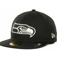 Seattle Seahawks NFL Black And White 59FIFTY Cap
