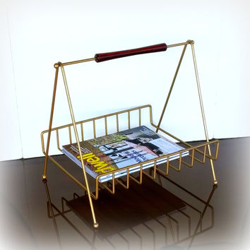 Modern 1950s VINTAGE MID CENTURY Magazine Rack in a Lovely Geometric Design - Gold tone Brass Wire and Wood Modern Retro Mid Mod Mcm Storage