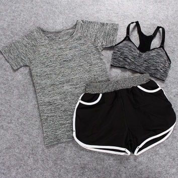 SIMPLE - Solid Color Quick Dry Sport Running Suit T-shirt/Bra/Shorts 3-Piece a12669