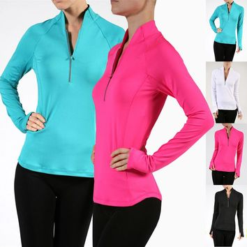 Women Solid Long Sleeve Athletic Pullover Workout Yoga Shirt Top
