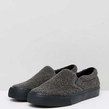 ASOS Slip On Plimsolls In Grey Borg With Black Sole at asos.com