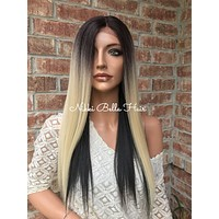 Dana Lightest Blonde Ombré Human Hair Blend Multi Parting Lace Front Wig 20""