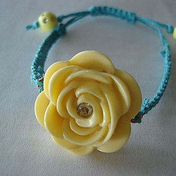 Yellow Rose Hemp Bracelet by AbsBeadsnBaubles on Etsy