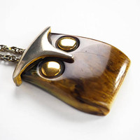 Vintage Mod Owl Necklace, Petrified Wood Or Amber Onyx with Silver and Gold Accents