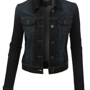 Classic Long Sleeve Denim Jean Jacket with Pockets