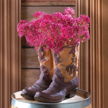Southwestern Cowboy Boot Flower Pot Planter