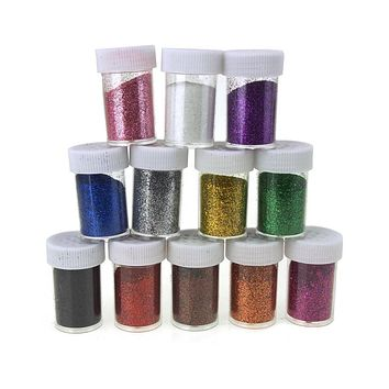 Fine Glitter in Plastic Bottle, 0.6 Ounce, 12-Piece, Multi-Color