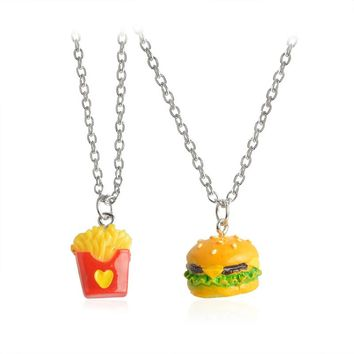 2pcs/set Best Friend Forever BFF pendant silver chain fast food charm necklace cute French Fries chips hamburger kids jewelry