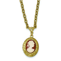 Gold-tone Filigree Acrylic Cameo Locket w/3in ext. Necklace