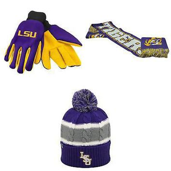 Licensed NCAA LSU Tigers Spirit Scarf Windy Beanie Hat And Grip Work Glove 3 Pack 53859 KO_19_1