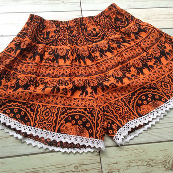 High waisted Lace Shorts Elephants Boho Print Summer Chic Fashion Trim Tribal Aztec Ethnic Clothing Bohemian Ikat Cloth Hobo Orange Beach