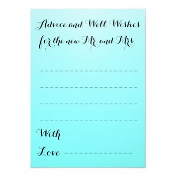 Advice and Well Wishes Wedding Notes Card