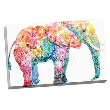 "Modern Canvas Wall Art ""Elephant 1000 Colours""  Canvas 24x36"
