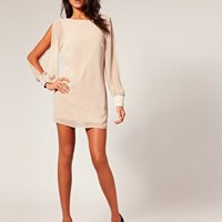Lipsy Opaque Beaded Trim Low Back Shift Dress at asos.com