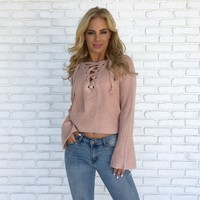 Coming Home Sweater Top in Blush Pink