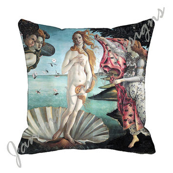 "Decorative Throw Pillow Cover 18x18 Botticelli  Birth of Venus 18 inch Art Cushion Cover 18"" Blue  woman shell renaissance Pink Black White"