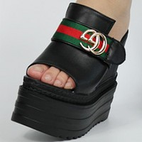 GUCCI super high-heeled summer slope with women's slippers thick-bottomed muffins with increased sexy shoes black