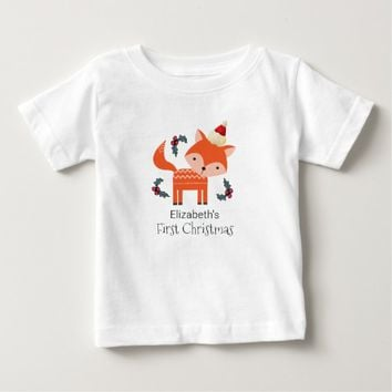 First Christmas Orange Fox In Santa Hat Customized Baby T-Shirt