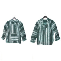 green MEXICAN serape jumper / early 90s DRUG RUG grunge southwestern pull over hoodie small medium