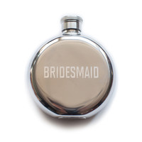 Bridesmaid Set of Six Blank 3 oz. Flasks