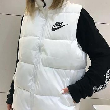 """NIKE"" Winter Fashionable Women Warm Simple Print Sleeveless Zipper Cardigan Jacket Coat Outdoor Vest White"