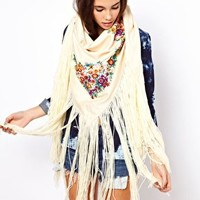 ASOS Oversized Hand Embroidered Tassel Scarf at asos.com