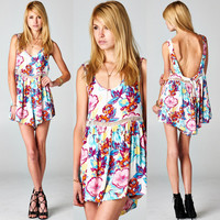 PLUNGING BACKLESS FLORAL ROMPER WITH EMBROIDERY