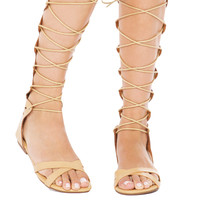 Strappy Knee High Laser Cut Camel Flat Gladiator Sandals