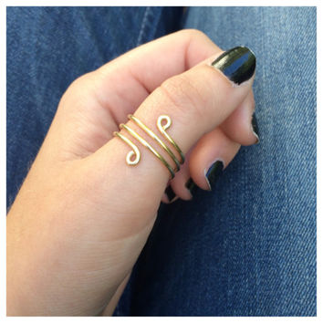 Gold Wrap Around Thumb Ring, Adjustable Wire