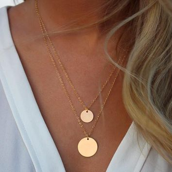 AE-CANFLY Double Gold Layered Chain Necklace Hammered Disc Round Sequin Coin Necklace Bridal Jewelry 2L