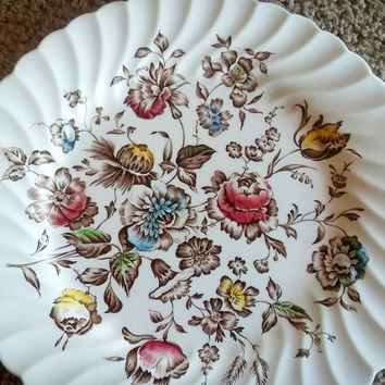 Vintage Staffordshire Bouquet England Dinner Plate Set of 4 Pink and Blue Floral