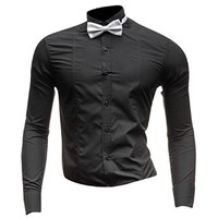 Jeansian Men's Slim Fit Long Sleeves Casual Shirts 8696