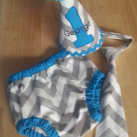 Personalized baby boy smash the cake outfit/ photo outfit/first birthday set in grey chevron with aqua trims