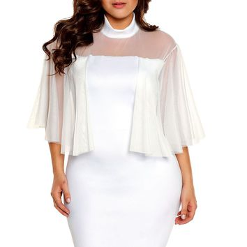 Turtleneck Semi-sheer White Plus Size Dress
