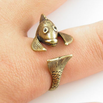 Adjustable Fish Animal Wrap Ring Pisces the Fish-silver Women's Girl's Retro - Rings For Teen Girls