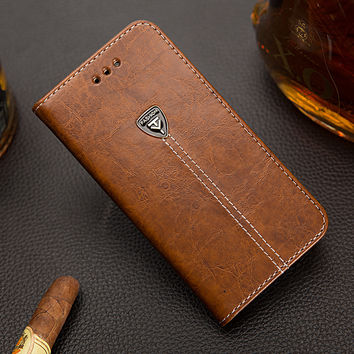 Luxury Genuine Leather Wallet Phone Case for iphone 6 6S 6 Plus 7 7Plus case 4 4S 5 5S SE Flip Cover with Card Holder Back Cover