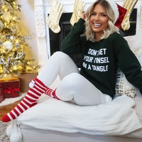 Don't Get Your Tinsel In A Tangle Sweatshirt: Evergreen/White