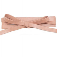 THICK LEATHER LONG WRAP AROUND CHOKER NECKLACE - NUDE