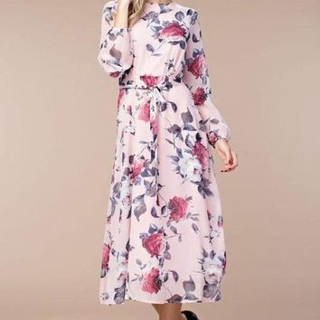 Rose Garden Mauve Midi Dress