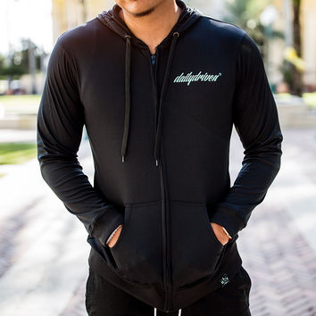 DailyDriven ActiveDry Lightweight Black Zip Up Hoodie