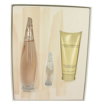 Liquid Cashmere Blush By Donna Karan Gift Set -- 3.4 Oz Eau De Parfum Spray + 3.4 Oz Body Lotion + .24 Oz Mini Edp